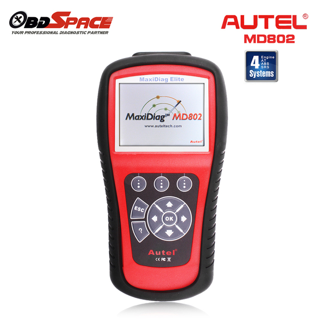 Autel Maxidiag Elite MD802 4 systems Engine Transmission ABS Airbag Diagnostic Reset Tool Update Online Universal auto Scanner