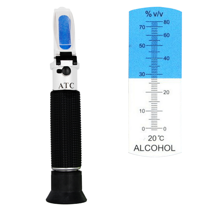 handheld liquor tester refractometer oenometer detector moniter of alcohol meter 0-80% with ATC 43%off alcohol refractometer for spirit alcohol volume percent measurement with automatic temperature compensation atc range 0 80%
