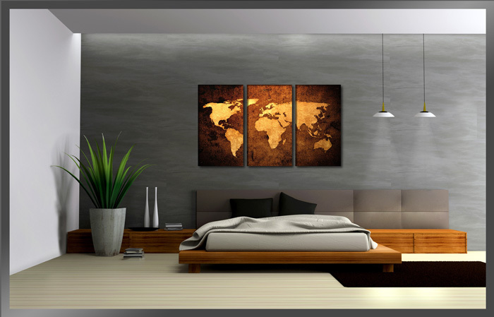 Yellow World Map, 3 Panels Huge HD Great Canvas Print for Living ...