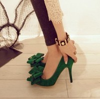 2013 Spring Autumn Velvet Green Big Bow Flock High Heeled Pointed Toe Single Shoes