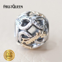 FirstQueen Silver 14k Gold Openwork Infinity Family Charm Fit Bracelets For Jewelry Making For Christmas Gift