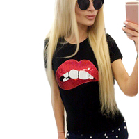 SexeMara New T Shirt Women 3D Color Diamond Beaded Printing T Shirt Short Sleeve Summer Fashion