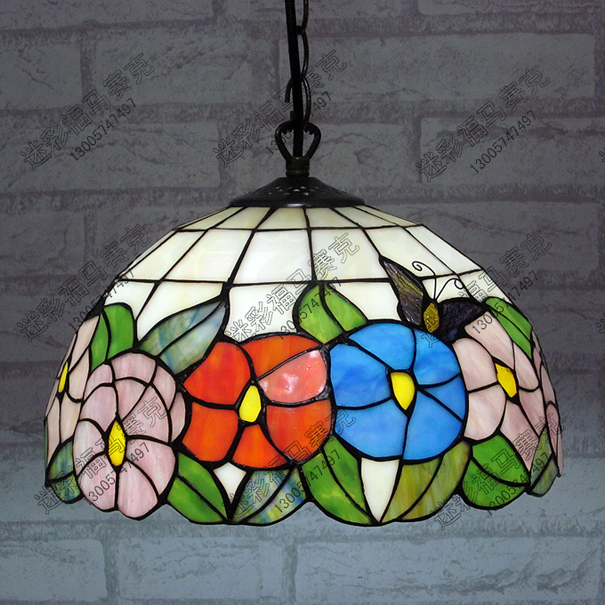 12inch Country butterfly Flowers Tiffany Table Lamp Country Style Stained Glass Lamp for Bedroom E27 110-240V сумка country style 9003