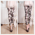 Mulheres flor impresso leggings summer fina leggings vintage para mulheres/meninas magros altos calças elásticas várias cores estilos 9020