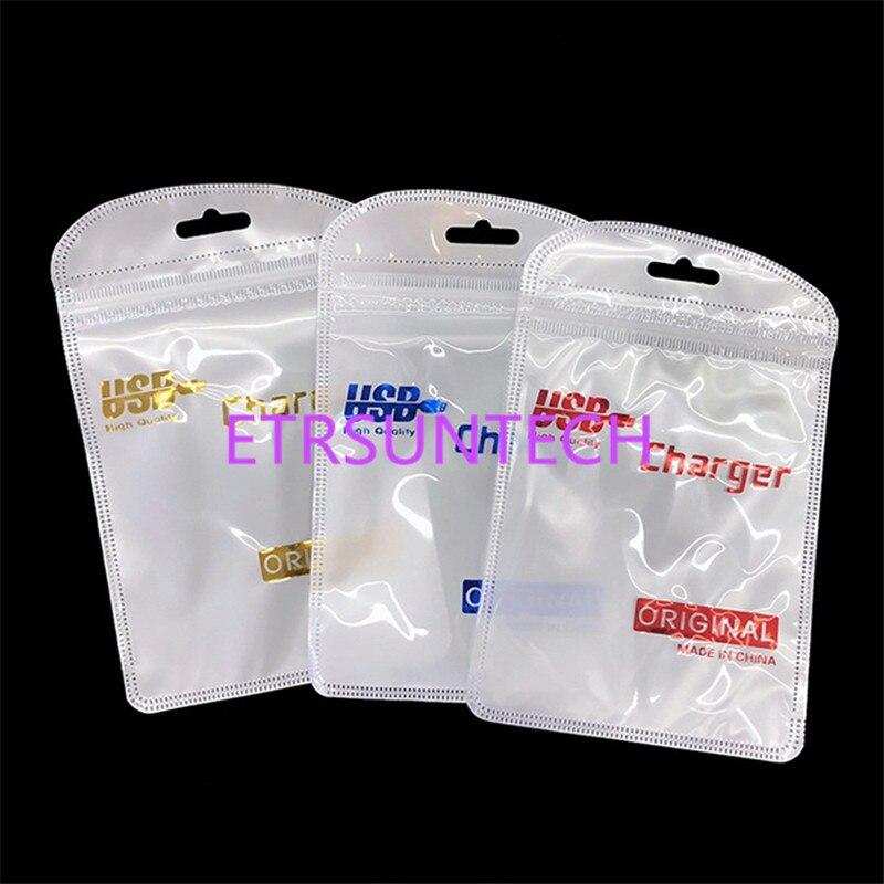 11*17 cm fermeture à glissière en plastique transparent emballage au détail Poly sac pour iPhone 5 6 7 Samsung USB chargeur câble paquet sacs 1000 pcs/lot