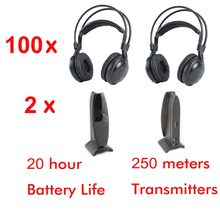 2 channel Ultra low bass 100pcs Silent disco Wireless headphones- silent party meeting DJ and so on(China)