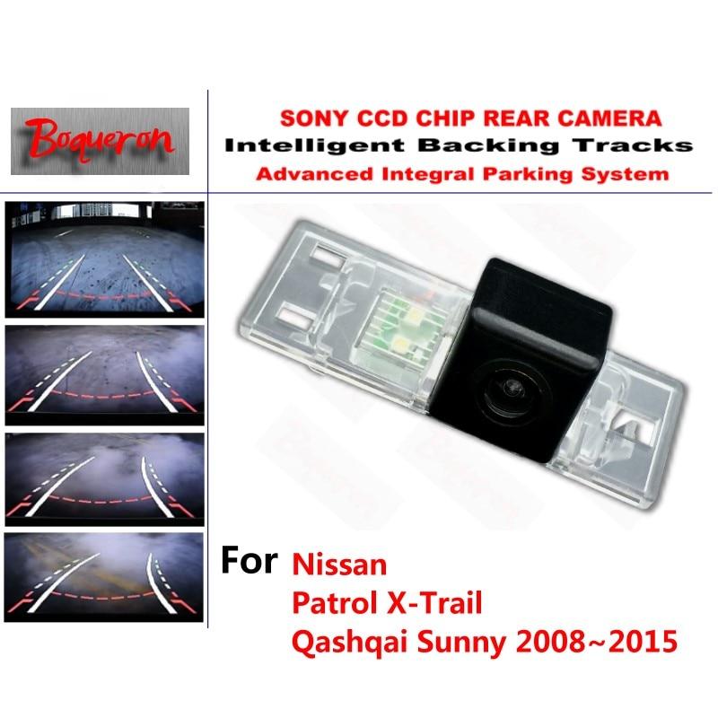 for Nissan Patrol X-Trail Qashqai Sunny 08~15 CCD Car Backup Parking Camera Intelligent Tracks Dynamic Guidance Rear View Camera redpower 21301b nissan x trail qashqai 2014 н в