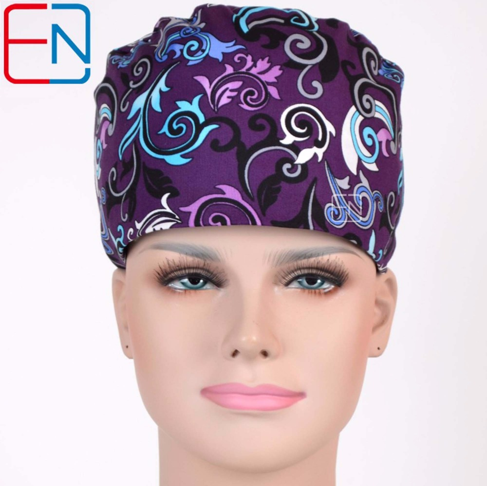 Hennar Women Medical Scrub Caps Mask Printing Cotton Hospital Beauty Doctor Nurse Work Hats Purple Accessary For Women