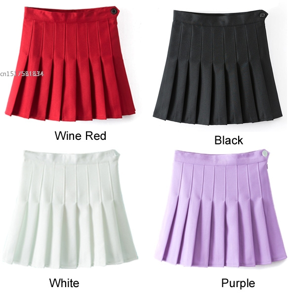 2020 Fashion New Arrival Sexy Women High Waist A-Line Pleated Skirt  Solid Mini Skirt Spring Summer style COSPLAY skirt