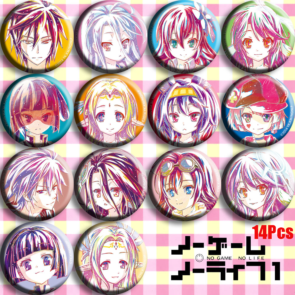 Japan Anime NO GAME NO LIFE Sora Shiro Cosplay Bedge Collect Backpack Bags Badge Button Brooch Pin Gifts