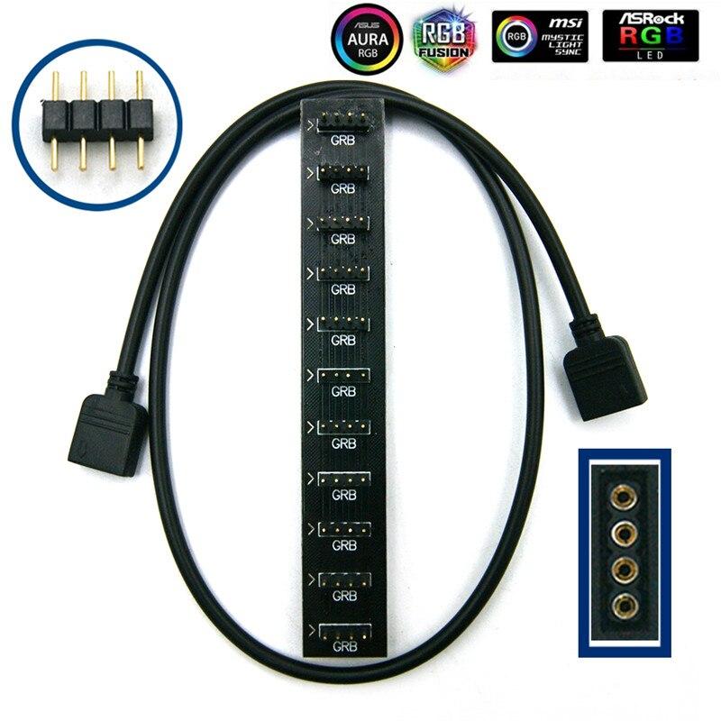 Материнская плата AURA RGB разветвитель Интерфейс 12 V/5 V прибор приемно-D-RGB синхронизации концентратор передачи мм, удлиняющий кабель, для ASUS GIGABYTE MSI