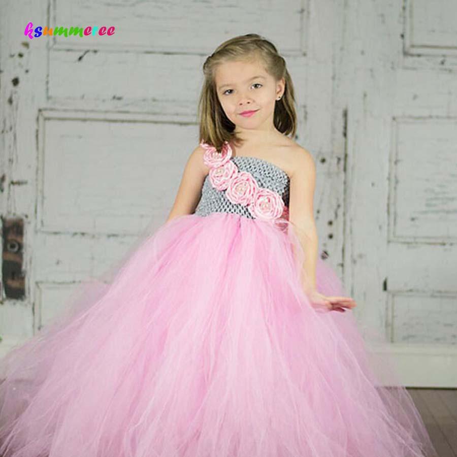 Ksummeree Princess Girl Flower Tutu Dress Kids Birthday Wedding Party Evening Gowns Tutu Dress Photography Props Costume TS104 marfoli girl princess dress birthday