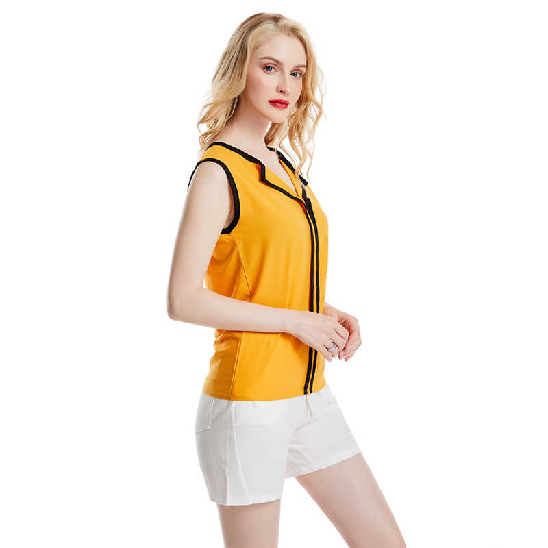 الكورية نمط المرأة قميص أنيق قميص بدون أكمام الصيف سترة بدوره أسفل طوق مكتب الشيفون عادية قمصان بيضاء S إلى 2 XL