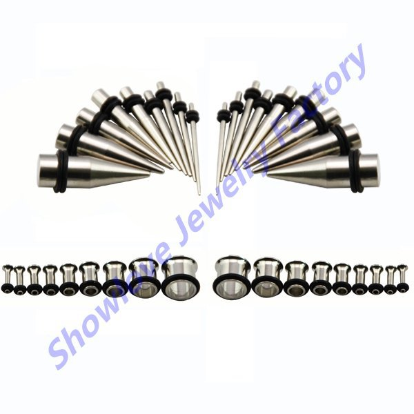 Showlove-36pc Stainless Steel Ear Gauge Kit, Stretcher Plug Taper & Single Flared Tunnel Set Piercing14g--00g Free Shipping