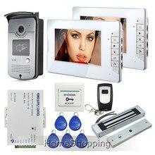 """Envío de la Nueva 7 """"pantalla de Vídeo Teléfono de Puerta de Intercomunicación + Monitor de Timbre de La Cámara de Acceso RFID + 2 Blanco + Cerradura Magnética En la Acción"""