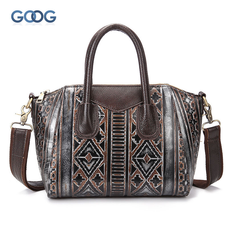 The new wiping the first layer of leather cowhide leather leather retro handbags oblique cross package casual postman package ba qiaobao women general genuine leather handbags tide europe fashion first layer of cowhide women bag hand diagonal cross package