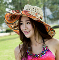 Nueva Moda de Las Mujeres del Verano Plegable Del Sombrero de Sun Grande Ancho Brim Floppy Beach Casquillo de la Paja para Damas