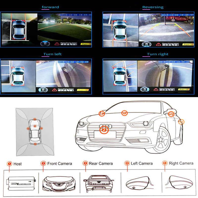 نظام الرؤية المحيطة حول وقوف السيارات تسجيل الأمن 360 درجة الطيور عرض بانوراما نظام الجبهة اليسرى اليمنى الخلفية كاميرا DVR