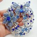 "Elegante 3.85 "" borboleta broche Pin pingente strass cristal austríaco azul"