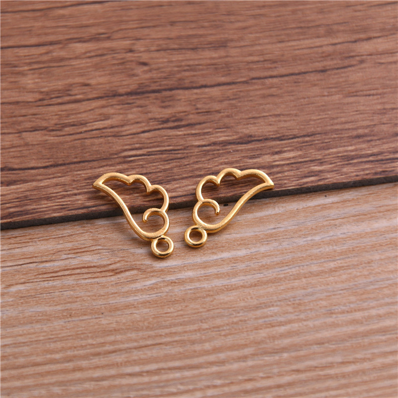 60PCS 9*18mm Metal Alloy Three Color Mini Hollow Wing Charms Pendants for Jewelry Making DIY Handmade Craft 6