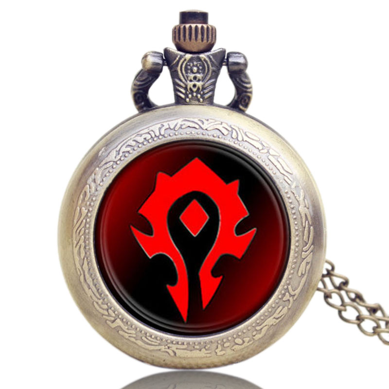 Vintage Hot Blizzard Game World Of Warcraft Tribal Emblem Symbol Quartz Pocket Watch Pendant Necklace For Man Quartz Watch Gifts