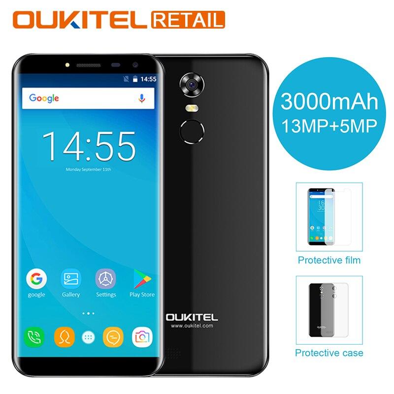 Oukitel C8 3G 5.5 Pouce mobile téléphone Android 7.0 2 GB RAM 16 GB MT6580 Quad Core 18:9 Affichage 3000 mAh 13MP Cam d'empreintes digitales