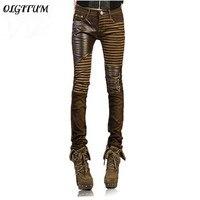 2018 moda pantaloni Casual piedi Denim jeans per la donna matita pantaloni grande formato nero di Alta qualità PU cuoio dei jeans per donne