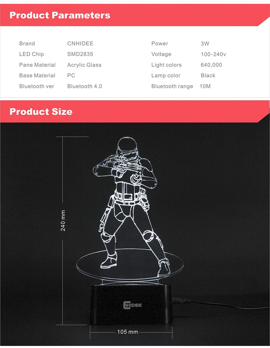 CNHIDEE USB Novelty Star Wars Bluetooth Music Desk Lampara 3D Stormtrooper Bulbing Led Luz de Noche Engraving Night Light Decor as Creative Gifs  (11)