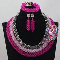 2017 Hot New Pink Fuchsia Crystal Jewelry Set Fashion 3 Layers Silver/Pink Bridesmaid Necklace Earrings Set Free ShippingABL898
