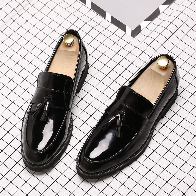 on Chaussures Cuir Slip De Gland Verni Business En Noir Hommes Casual H175 gqz6tAW