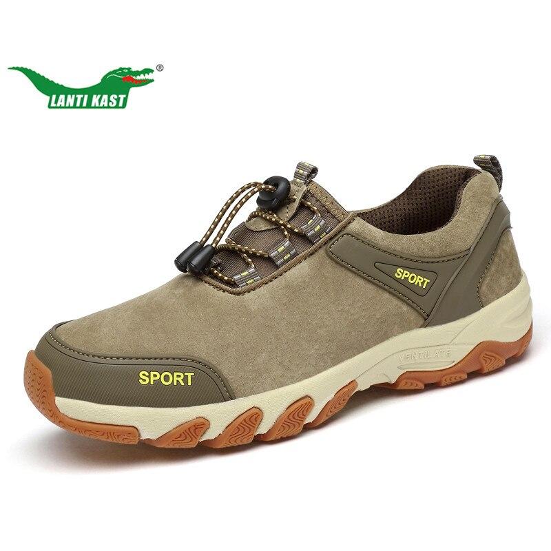 LANTI KAST Men Hiking Shoes Autumn New Trend Genuine Leather Lace Up Sport Shoes Men Outdoor Durable Rubber Soles Trekking Shoes breathable lace up men outdoor hiking shoes