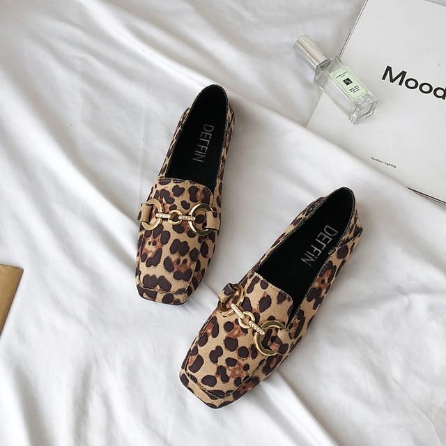 Mulheres Sapatos de verão 2019 das Mulheres da Moda Leopardo Apartamentos Mulheres Sapatos Flats de Couro Do Dedo Do Pé Quadrado Da Borboleta-Nó Tamanho 35 36 37 38 39 40