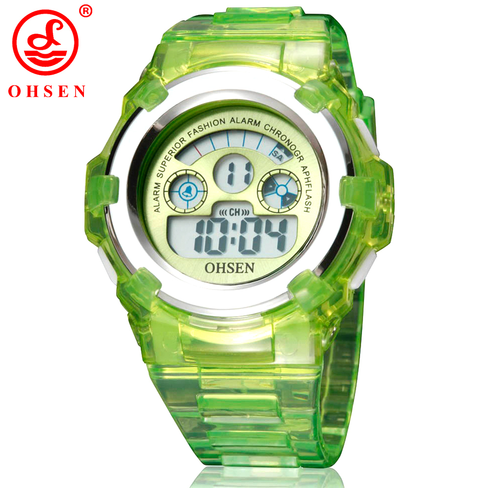 OHSEN Boys Girls Children 7 Colors LED Back Light Digital Multifunction Military Sports Watches Green Jelly