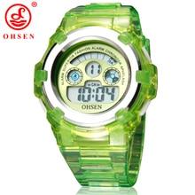 OHSEN Garçons Filles Enfants 7 Couleurs LED Rétro-Éclairage Numérique Multifonction Militaire Sport Montres Vert De Gelée de Silicone Montre-Bracelet