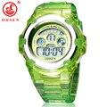 OHSEN Niños Niñas Niños 7 Colores LED Luz de Fondo Digital Multifunción Militar Deportes Reloj de Pulsera de Silicona Relojes de La Jalea Verde