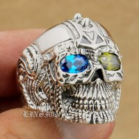LINSION Blue + Green CZ Eyes 925 Sterling Silver Gothic Tattoo Skull Mens Boys Biker Rock Punk Ring 9G405 US Size 7 to 14