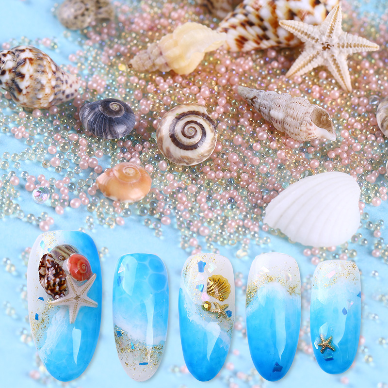 Natural Mini Conch Shells 3D Nail Decorations Starfish Sea Beach Ornaments DIY Manicure Nail Art 3D Decorations Body Art UV Gel 0 8mm 20000pcs colorful mini nail art beads gardient rhinestones 3d tip decoration for nail uv gel manicure nail art decorations