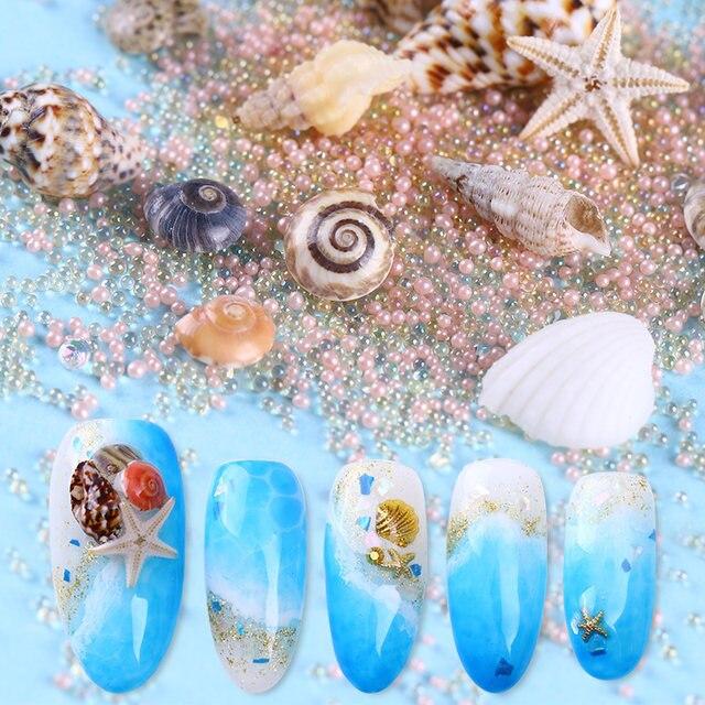 Tienda Online Natural mini conchas 3D uñas Decoración mar playa ...