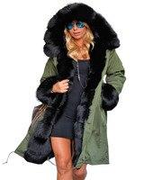 Roiii Women S Thicken Warm Fleece Casual Long Winter Faux Fur Hooded Plus Size Parka Jacket