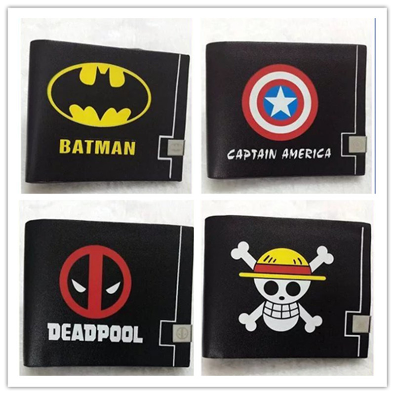 anime one piece Marvel series Batman Captain America Deadpool short wallet students Leather Wallet cartoon fashion bifold purse