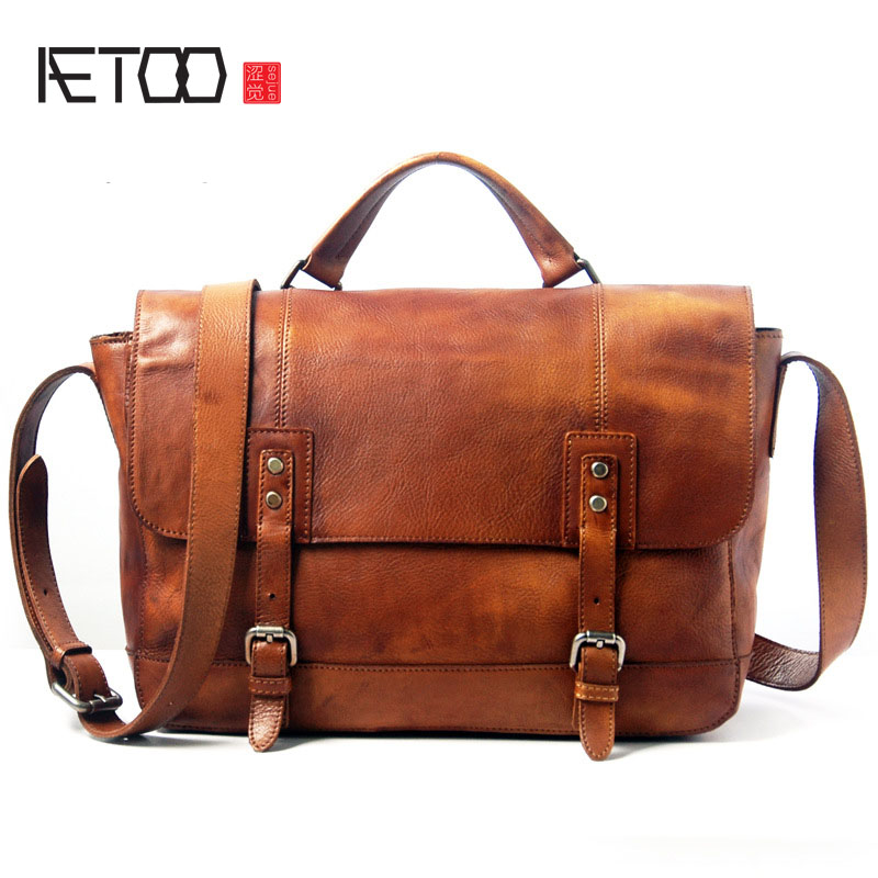 AETOO Leather men bag retro leather briefcase handbag shoulder bag wrapped tannery computer diagonal package aetoo oil wax leather leather europe and america retro men s 8 inch summer travel simple shoulder diagonal package