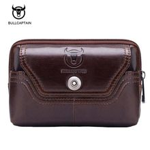 Bullcaptain new Vintage Genuine leather fanny Waist bag pack Fashion man small travel waist wallet bags for men Waist bag(China)