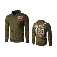 Fashion Printing Mens Military Style Jacket Pocket Stand Collar Zipper America Game Beer Pong Jackets Coats