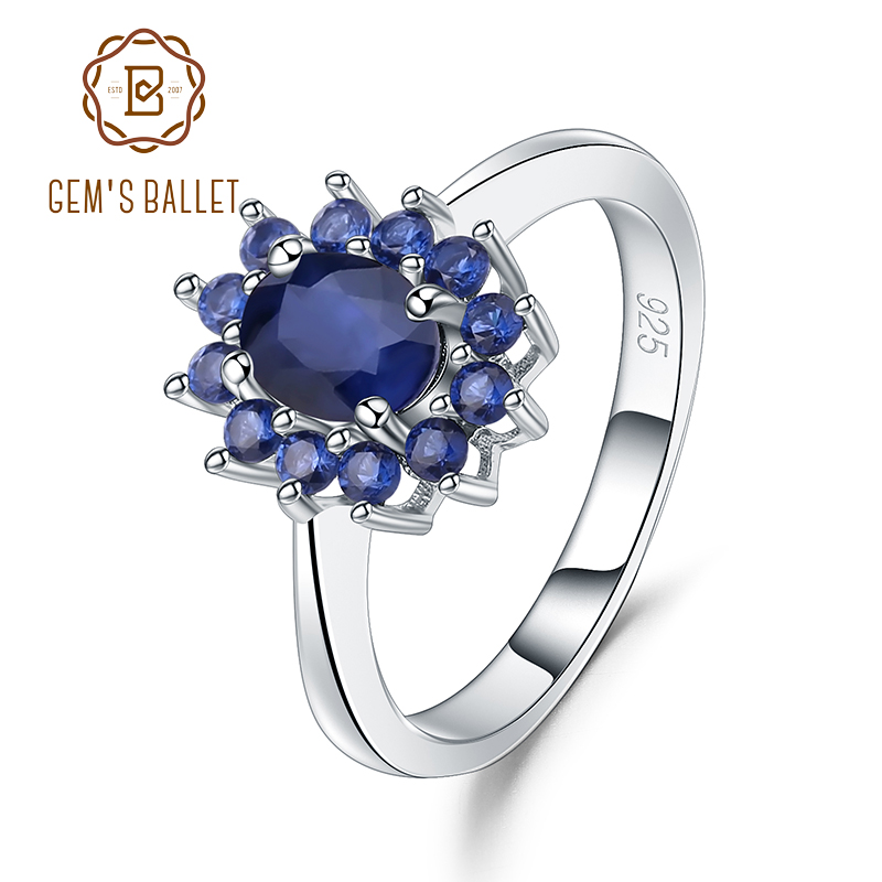 Gem's Ballet 1.89Ct Natural Blue Sapphire Wedding Band Ring 925 Sterling Silver Gemstones Vintage Rings For Women Fine Jewelry