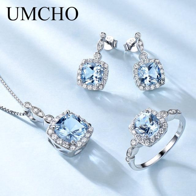 UMCHO élégant 925 bijoux en argent Sterling colliers anneaux boucles d'oreilles créé bleu ciel topaze bijoux ensemble pour les femmes cadeaux de mariage