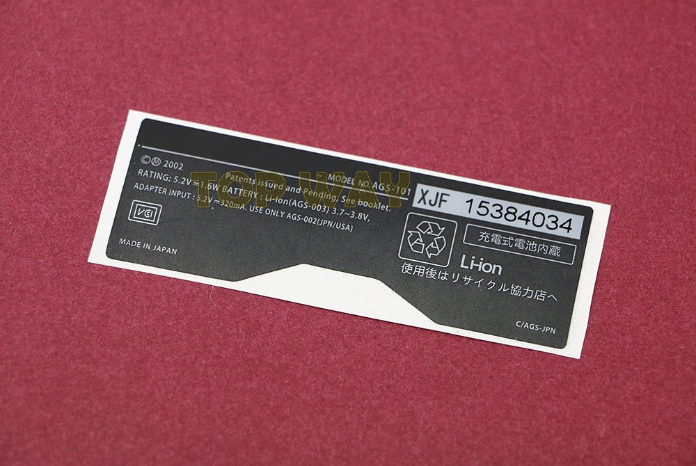 For <font><b>GameBoy</b></font> GBA SP Console Back Tag For Nintendo Game boy SP Label Sticker <font><b>AGS</b></font>-<font><b>101</b></font> <font><b>AGS</b></font>-001 2pcs/lot image