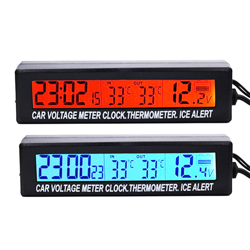New 3 in 1 Digital auto Car Voltage meter In/Out Car Temperature Thermometer clock Ice alert volt Detector Blue Orange backlight 3 in1 digital car thermometer voltmeter auto indoor outdoor temperature voltage meter alarm clock blue orange backlight 40%off