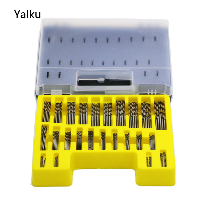 Yalku Mini Drill HSS Bit 0.4-3.2mm Straight Shank Handle Twist Drill Bits Set 150PC Metal Drilling Metalworking Bit Plastic Box 10pcs 0 7mm twist drill bits hss high speed steel drill bit set micro straight shank wood drilling tools for electric drills