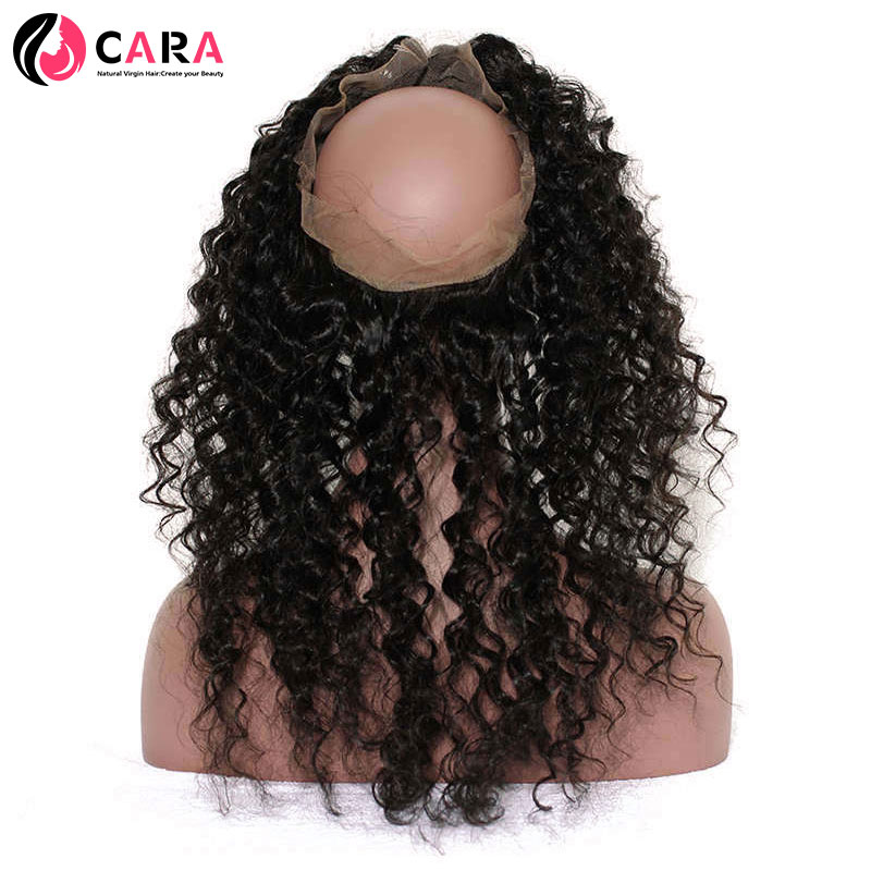 CARA Deep Wave 360 Lace Frontal Closure Pre Plucked Natural Hairline With Baby Hair Natural Color 100% Human Remy Hair