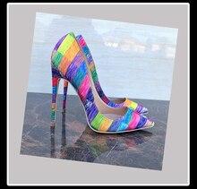 Keshangjia classics 여성 레인보우 컬러 신발 간결한 스팽글 천 얕은 여성 펌프 지적 발가락 패션 하이힐 신발